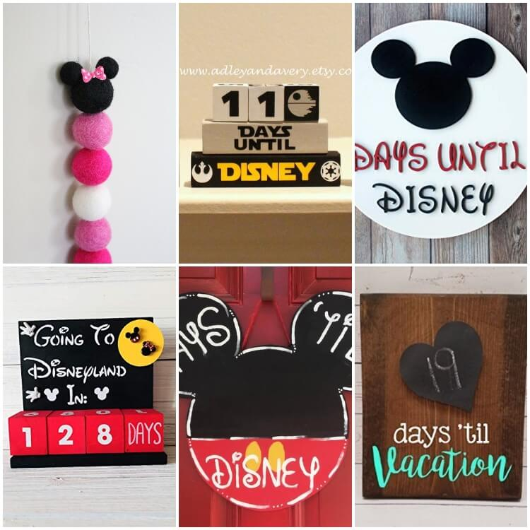 photo collage of disney vacation countdown calendars