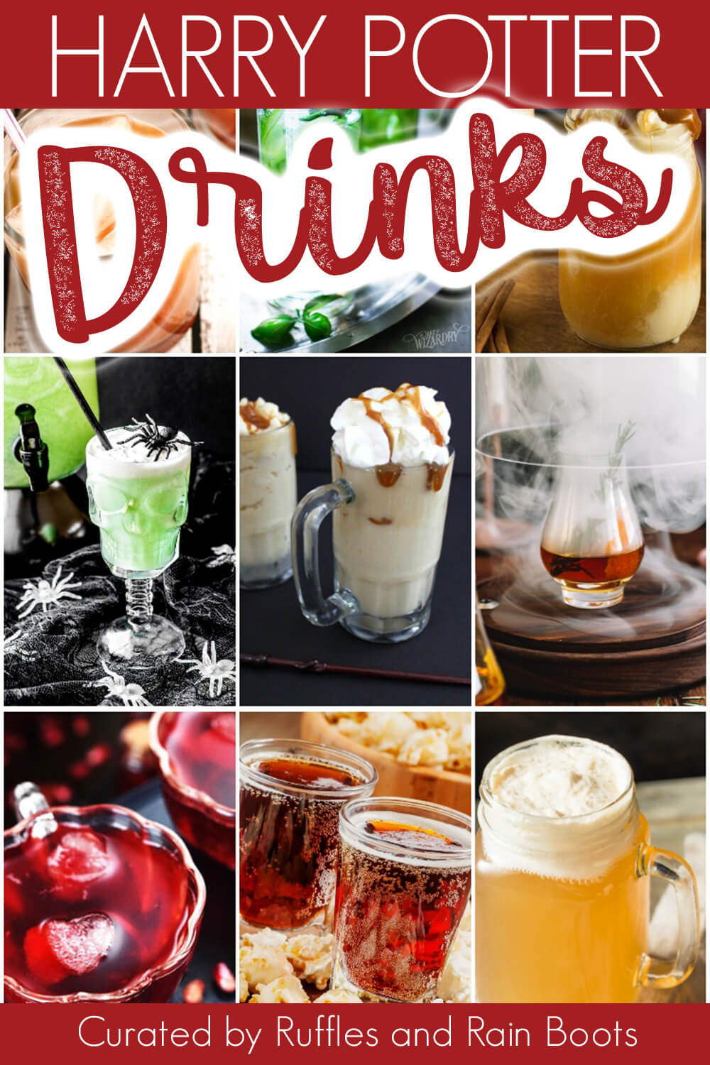 photo collage with text which reads harry potter drink ideas