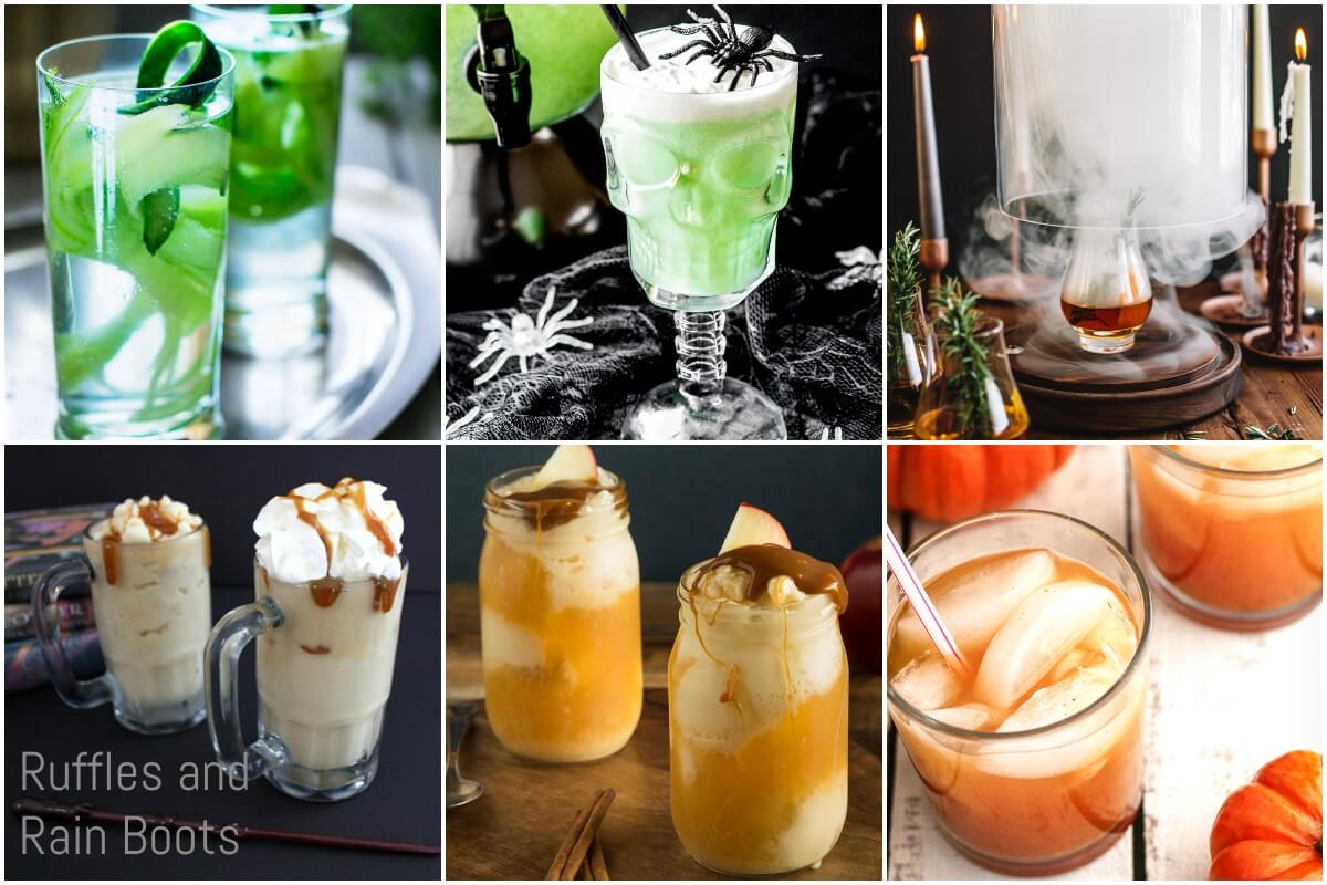 photo collage of how to make harry potter drinks for a fantastic beasts party