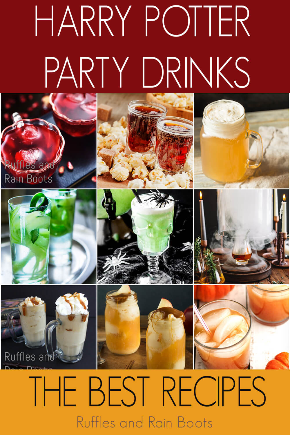 photo collage with text which reads harry potter party drinks the best recipes