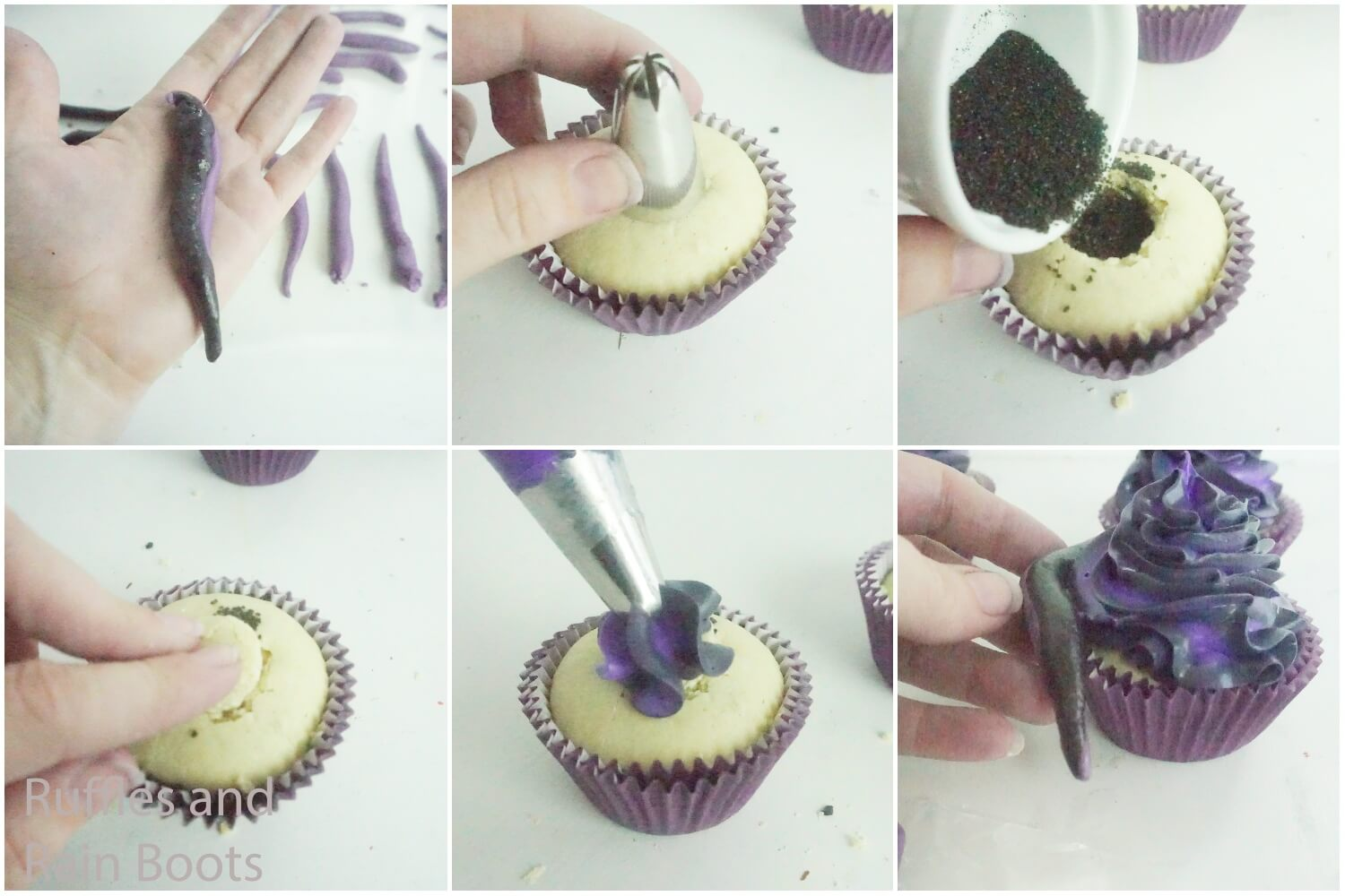 photo collage tutorial of how to make ursula cupcakes for a little mermaid party