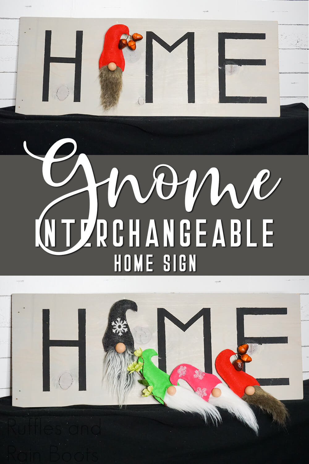 photo collage of nisse sign for the seasons with text which reads gnome interchageable home sign