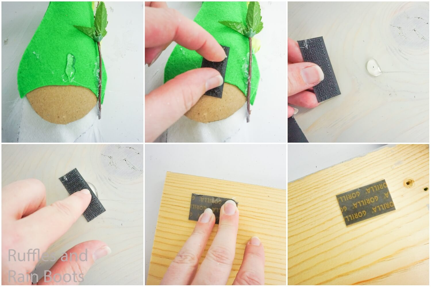 photo collage tutorial of how to make seasonal home sign by adding velcro to gnomes and mounting strips to the wood