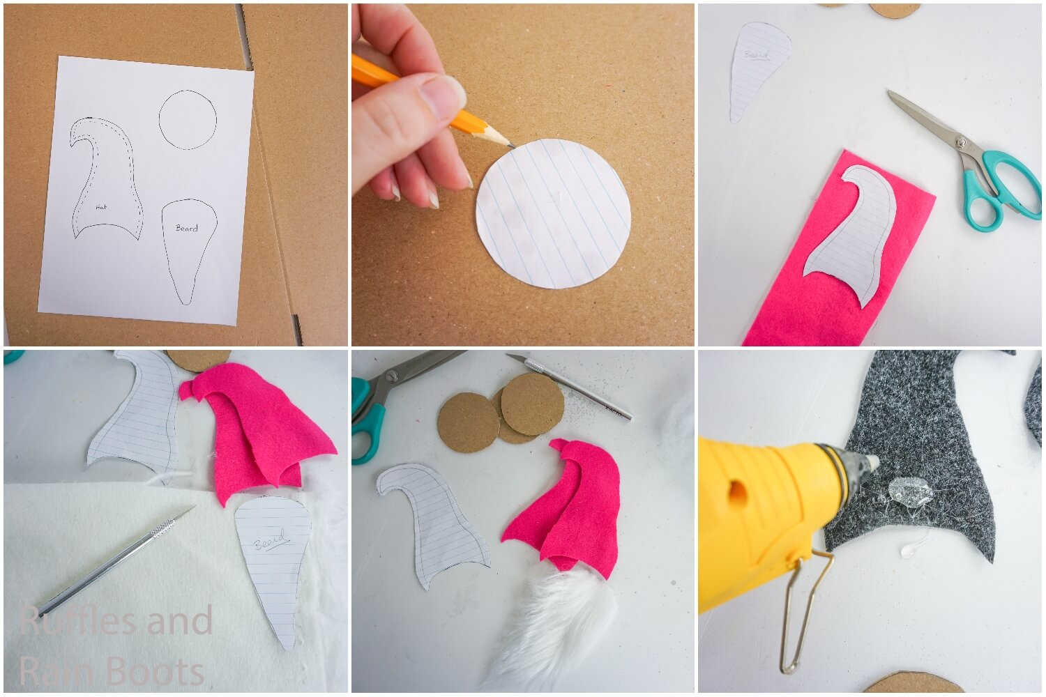 photo collage tutorial of how to make seasonal home sign by cutting out the pieces of the gnome and gluing them together