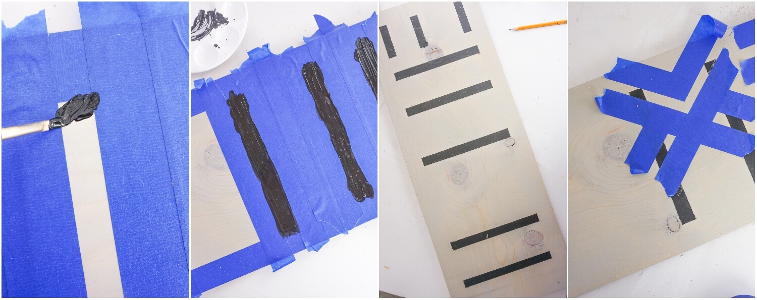 photo collage gutorial of how to make seasonal home sign by painting letters with black craft paint