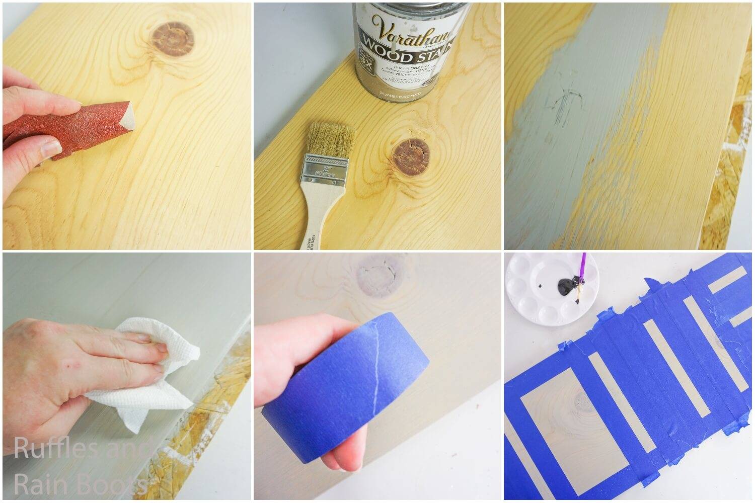 photo collage tutorial of how to make seasonal home sign by painting the wood and taping off the areas for the letters