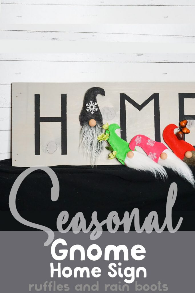changeable gnome face sign with text which reads Seasonal gnome home sign