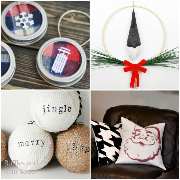 photo collage of how to make farmhouse christmas decorations
