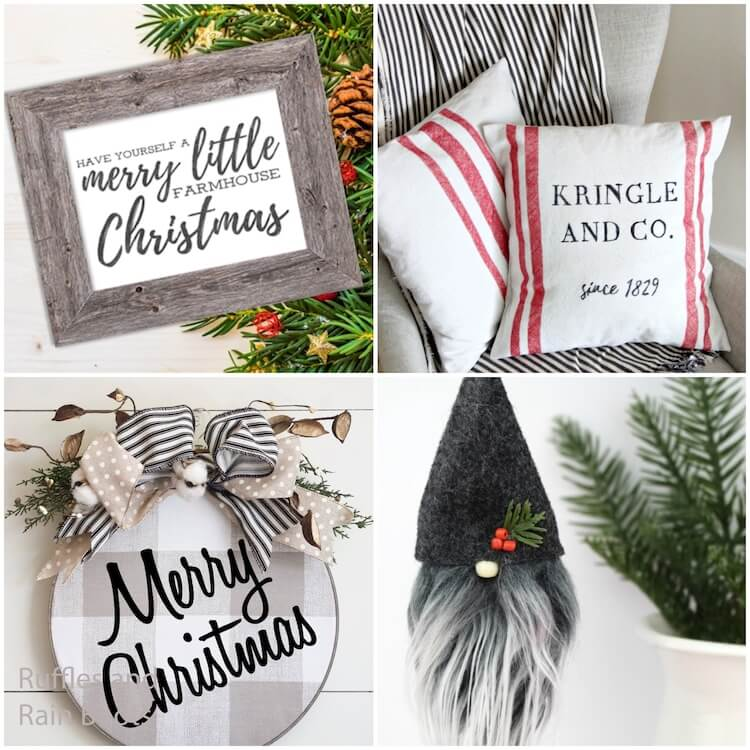 photo collage of how to make rustic farmhouse christmas decorations