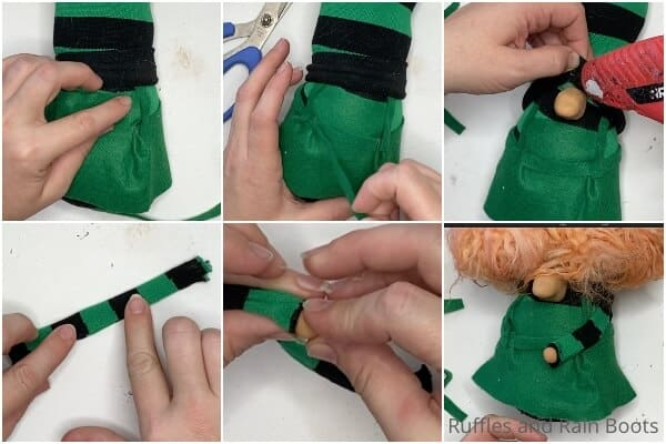 photo collage of how to make sanderson sisters gnomes by making a tall bendy hat sock gnome