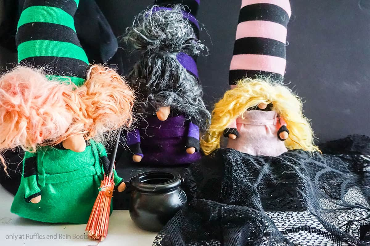 three hocus pocus gnome sister witches on a white table