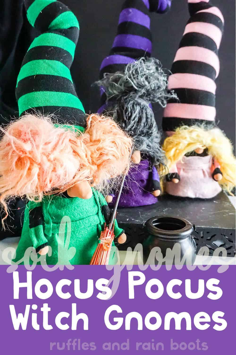 easy diy halloween gnome craft with text which reads sock gnomes hocus pocus witch gnomes