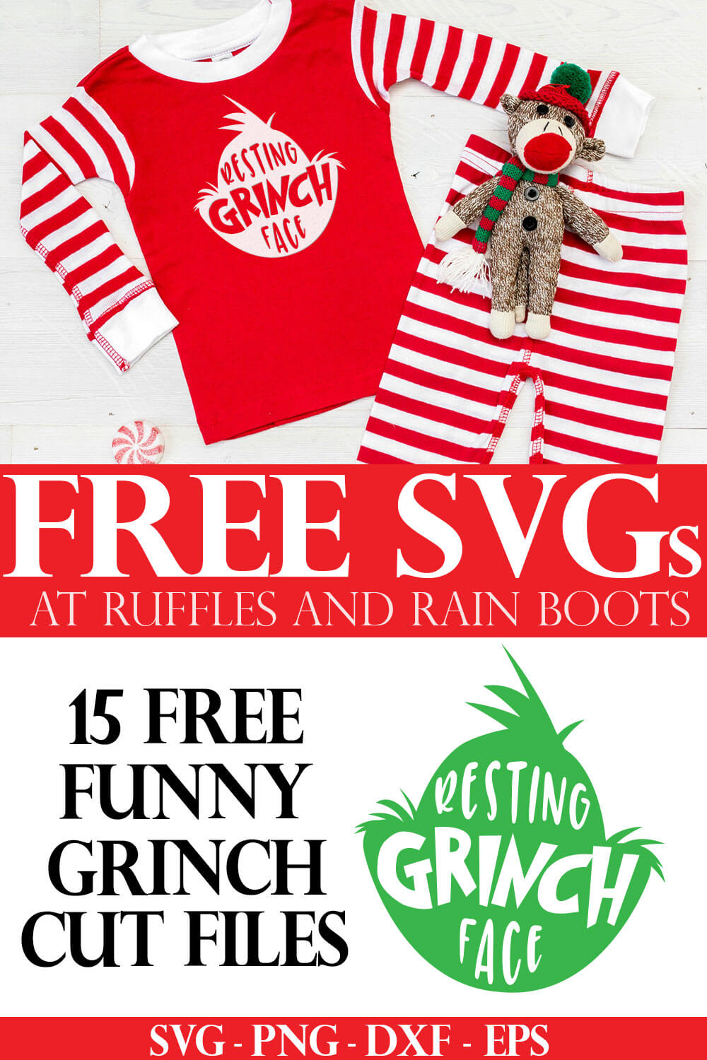 adorable Christmas pajamas made with free Grinch head SVG cut files for holiday crafts with text which reads free svg from ruffles and rain boots