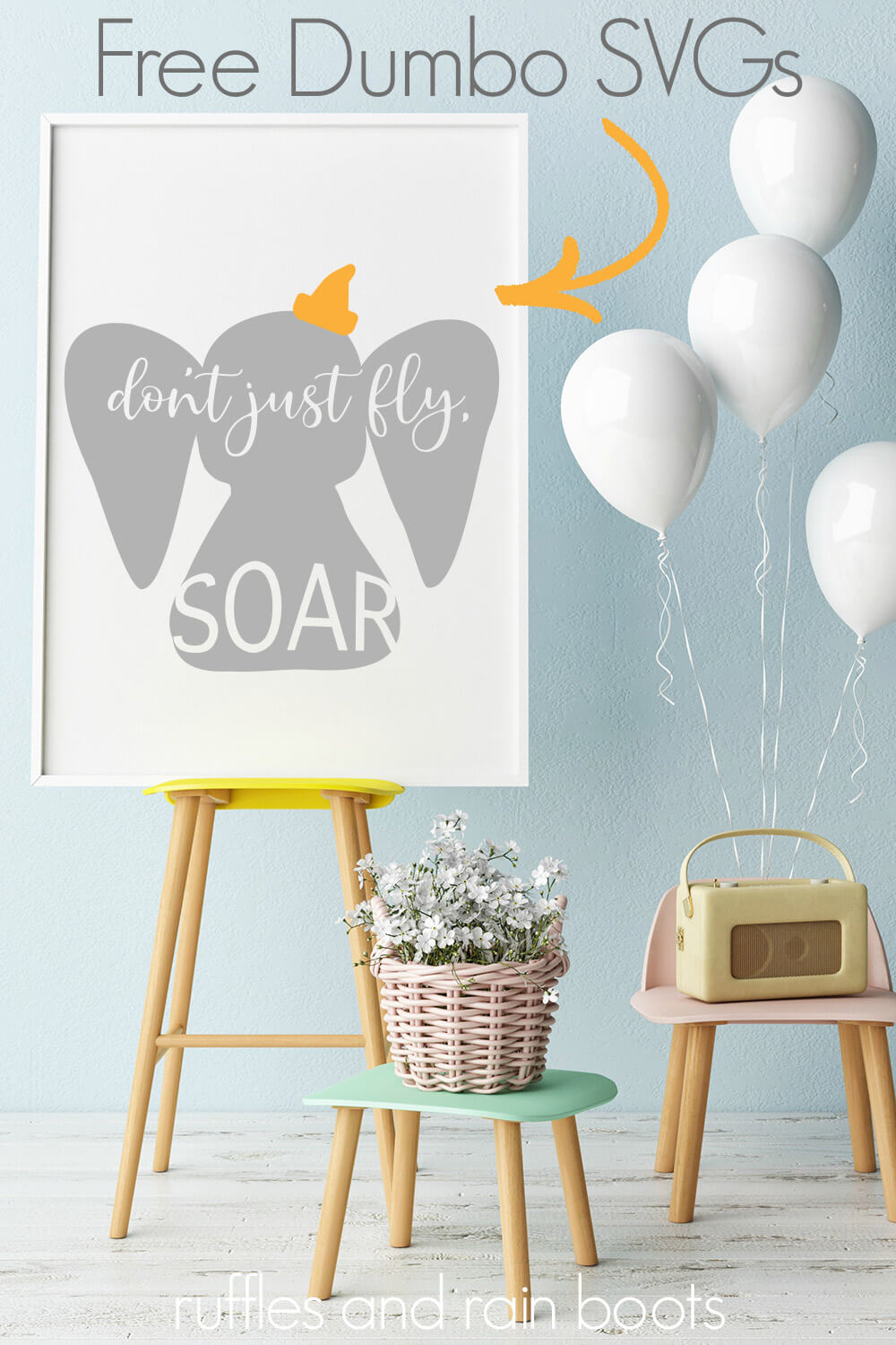 adorable Dumbo silhouette on frame next to white balloons in baby nursery with text which reads free DUMBO SVG