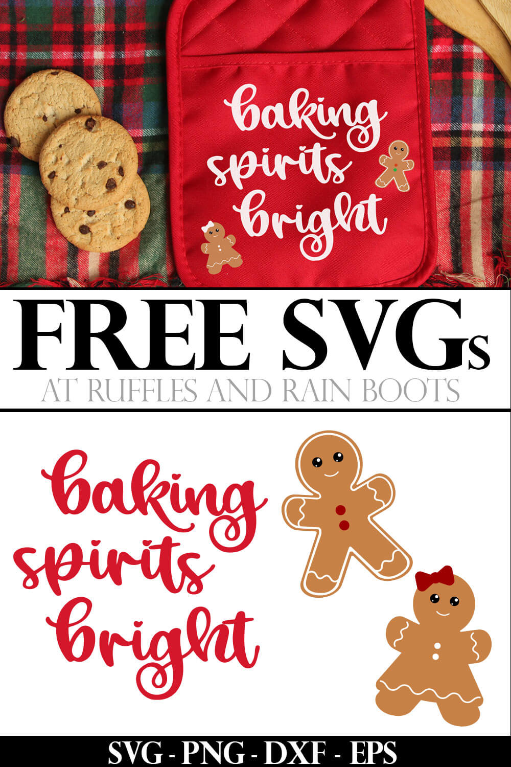 collage of free baking spirits svg and gingerbread cut files placed in white vinyl using Cricut onto a red potholder with text which reads free svg for Cricut