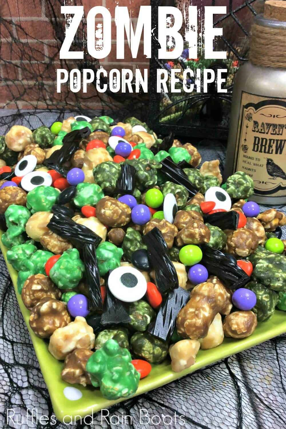 Halloween snack with text which reads Zombie Popcorn Recipe