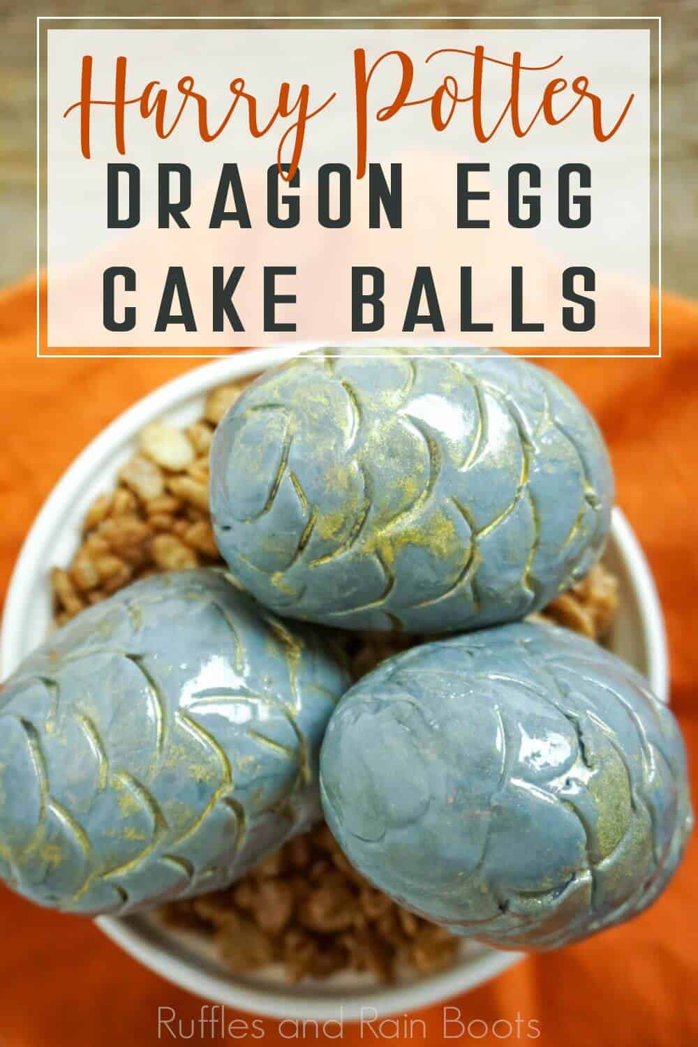 Amazing Harry Potter Dessert Idea Dragon Egg cake ball with text which reads harry potter dragon egg cake balls