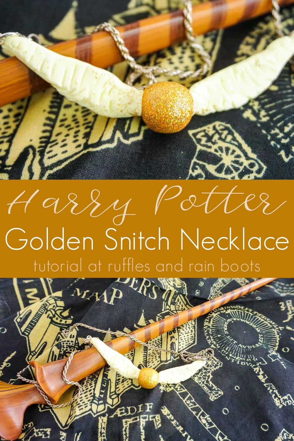 photo collage of Golden Snitch Necklace Harry Potter Craft for kids with text which reads Harry Potter golden snitch necklace