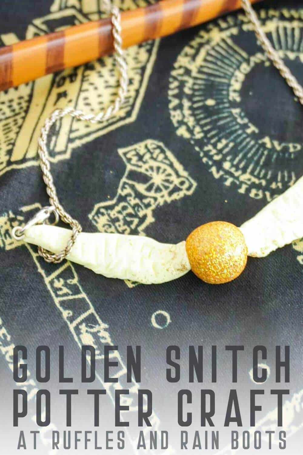 Harry Potter Golden Snitch Craft for Kids with text which reads golden snitch potter craft