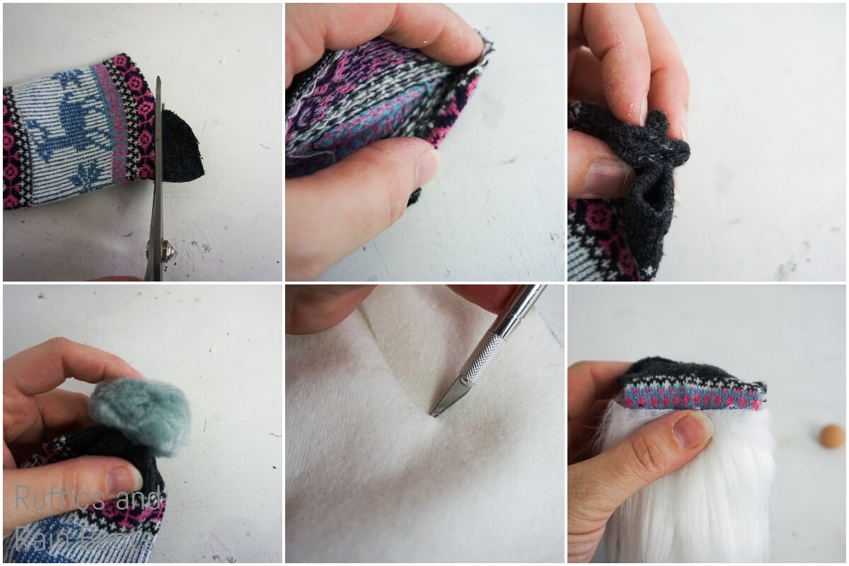 photo tutorial of how to make a ugly christmas sock gnome