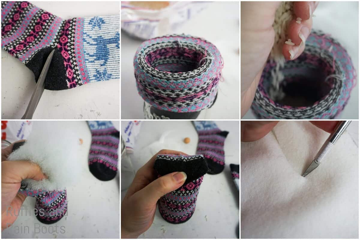 photo tutorial of how to make a ugly christmas sweater gnome from a sock