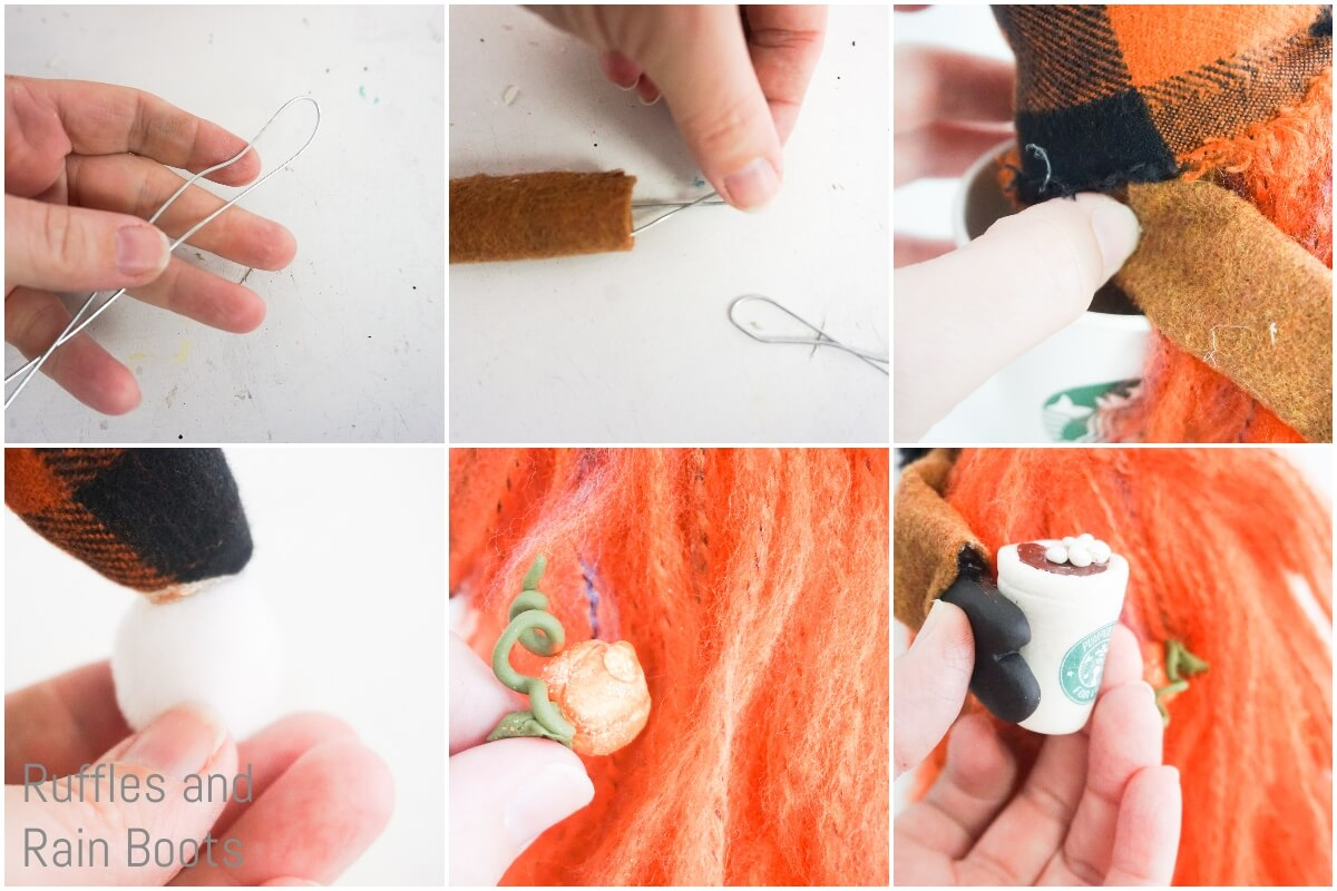 photo collage of how to make a pumpkin spice gnome adding details
