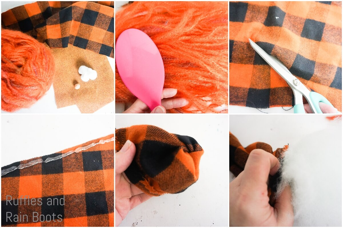 photo collage tutorial of how to make a pumpkin spice gnome