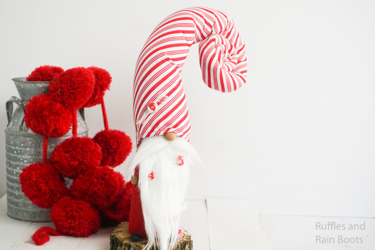 how to make a peppermint gnome for christmas on a white background
