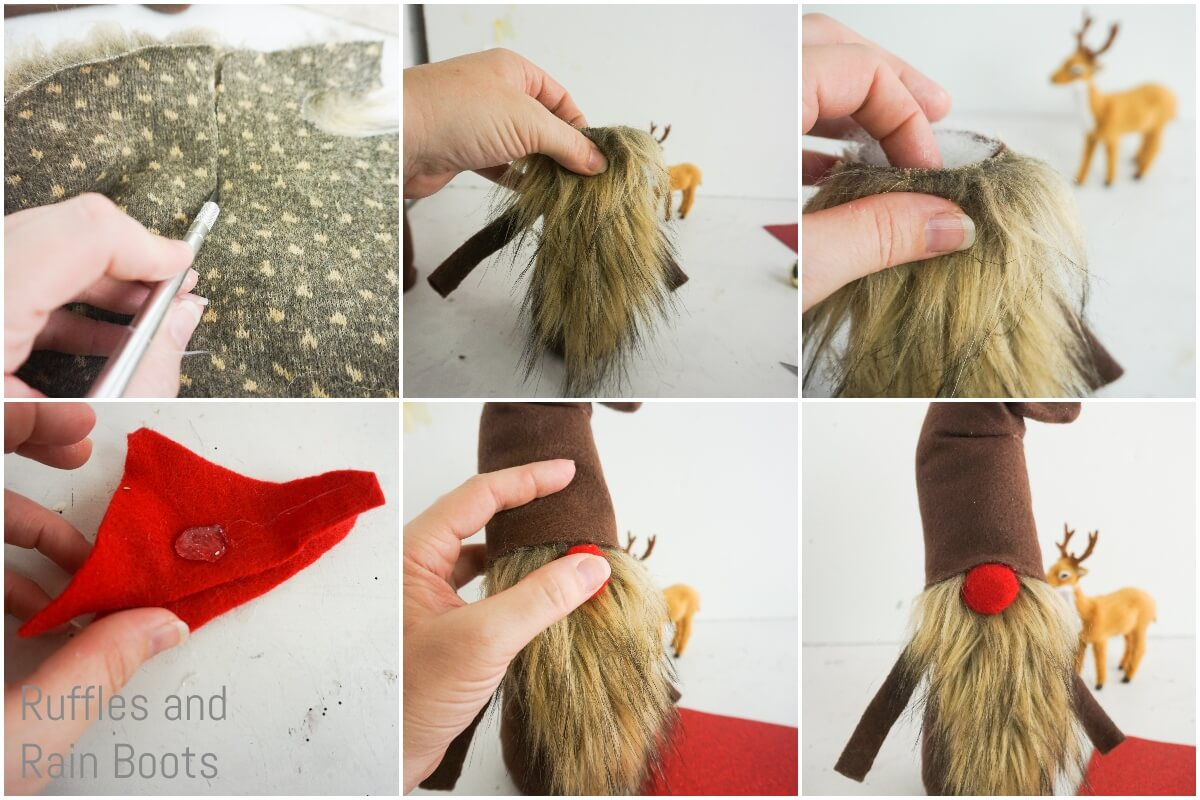 photo tutorial of how to make a reindeer gnome beard and nose