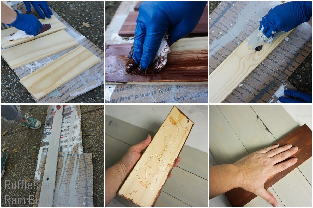 photo collage tutorial of how to make a gnome porch sign staining the wood and assembling the structure