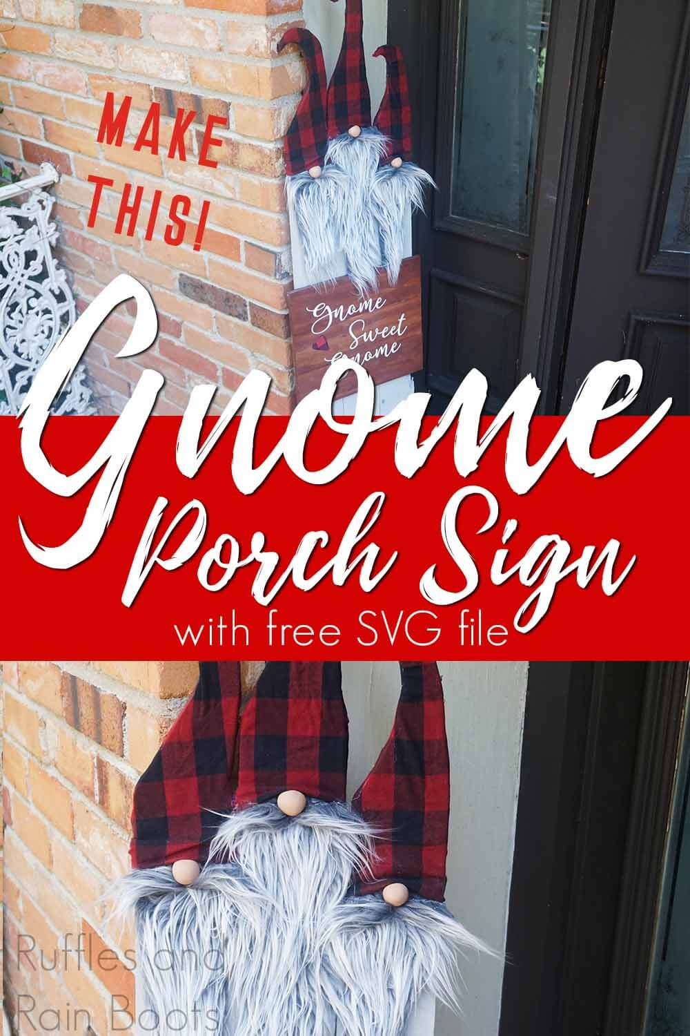 photo collage of easy diy sign for the porch with gnomes with text which reads make this gnome porch sign with free svg