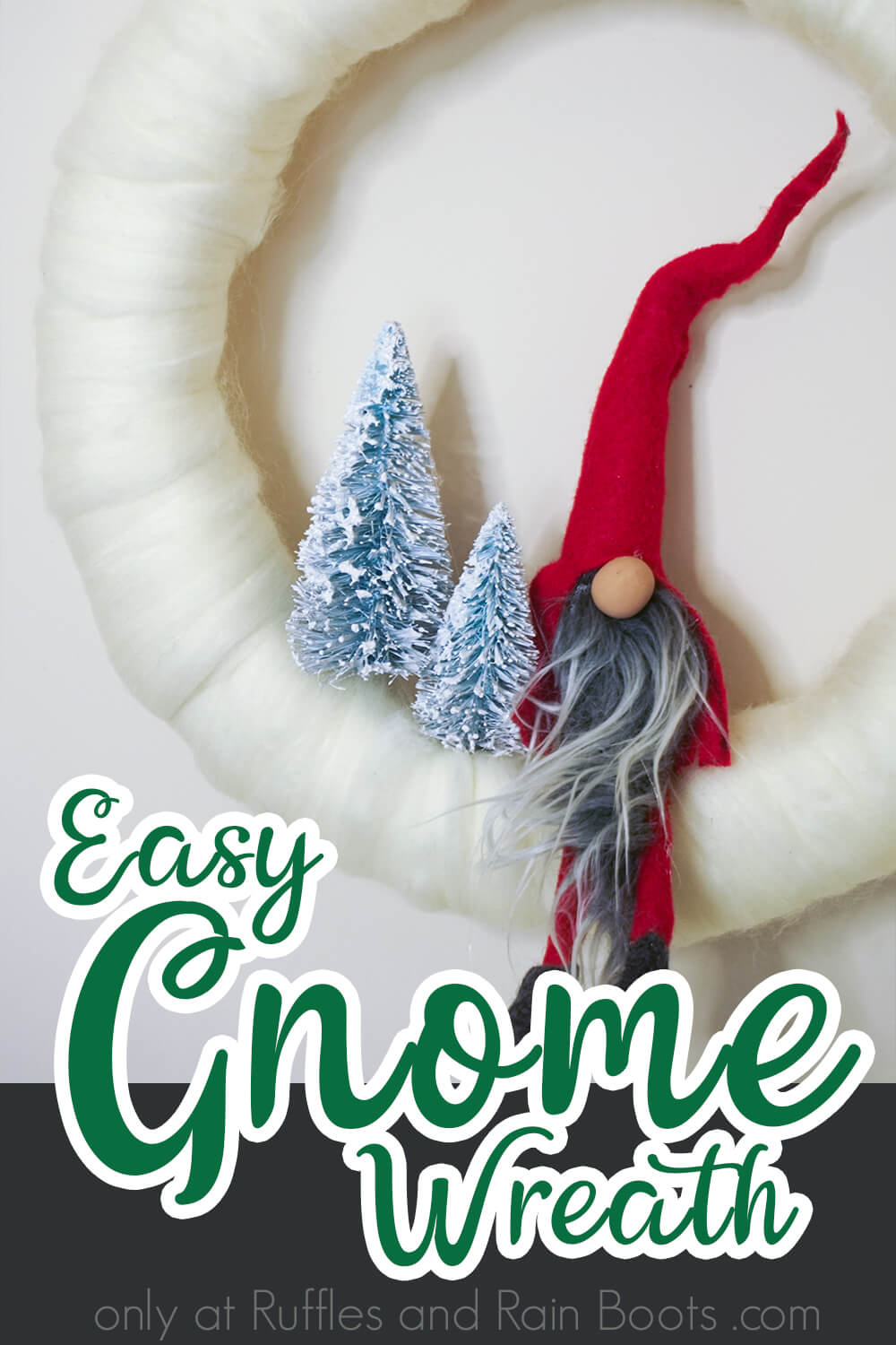 gnome christmas wreath on a white background with text which reads easy gnome wreath