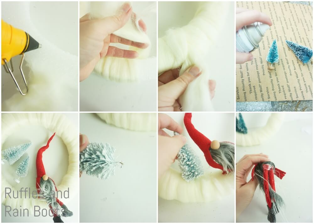 photo collage tutorial of how to make a yarn wreath