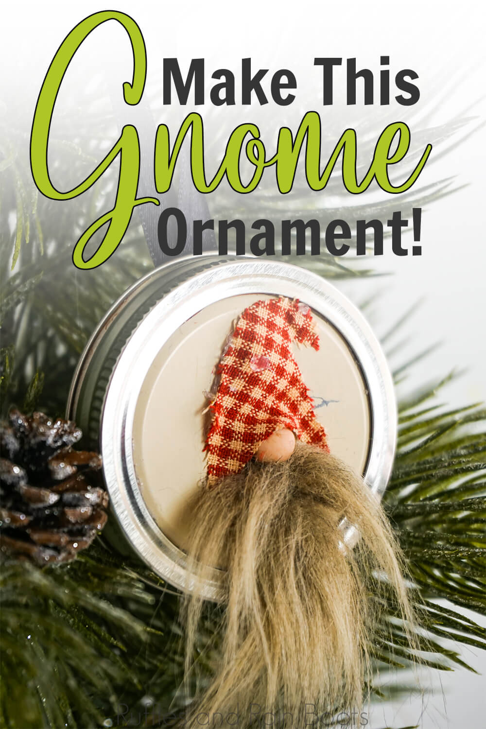 jar lid ornament with a gnome on it hanging from a christmas tree on a white background with text which reads make this gnome ornament