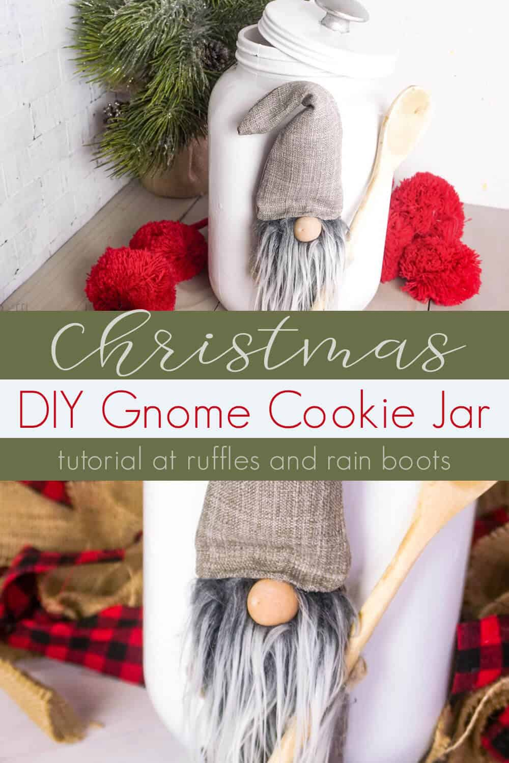 photo collage of DIY Gnome Cookie Jar Upcycle with text which reads christmas diy gnome cookie jar
