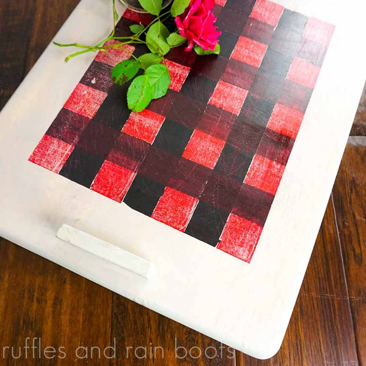 Paint a Buffalo Check Tray for Christmas on a dark wood background