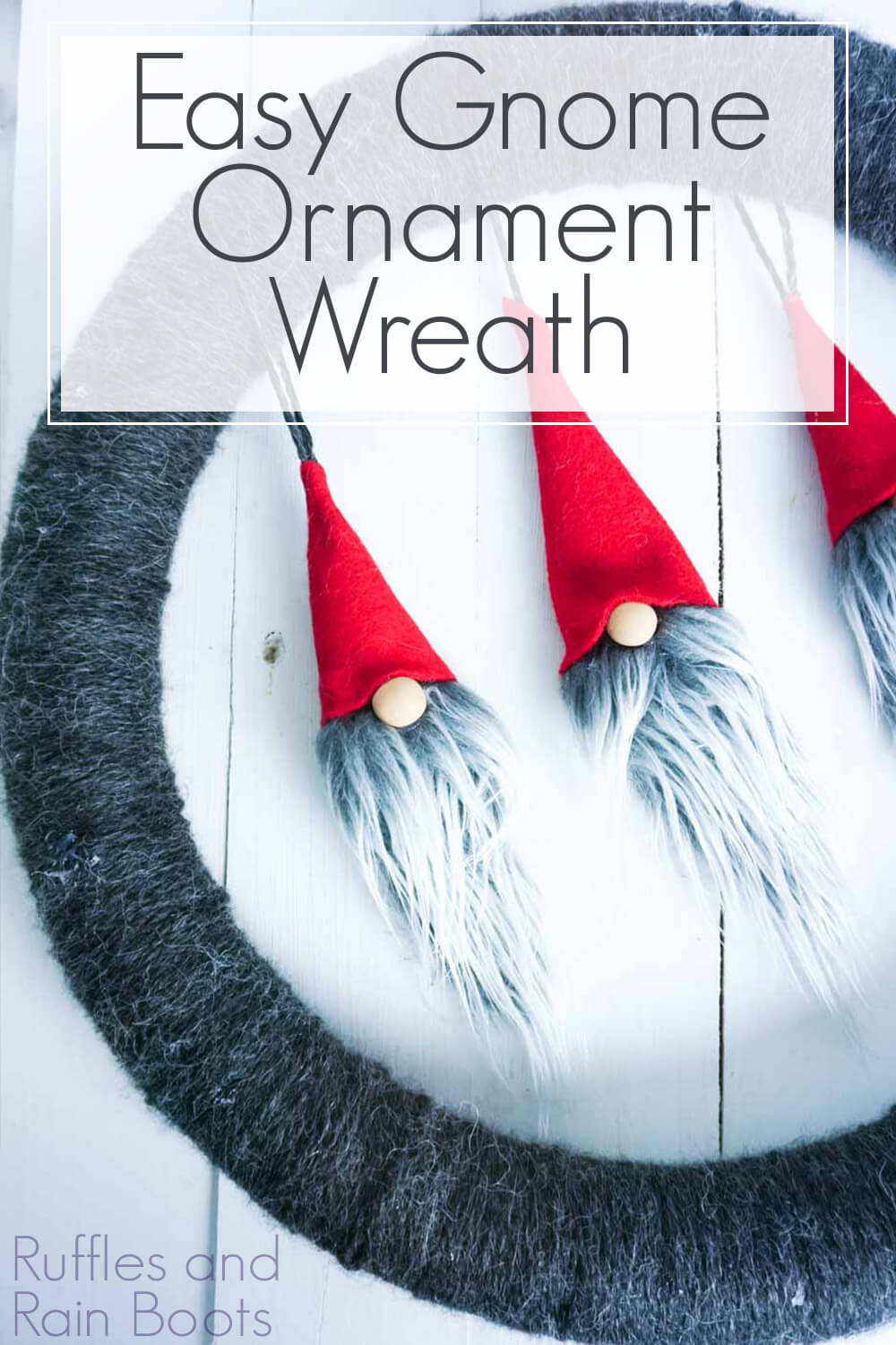 gnome christmas wreath on a white background with text which reads Easy Gnome Ornament Wreath