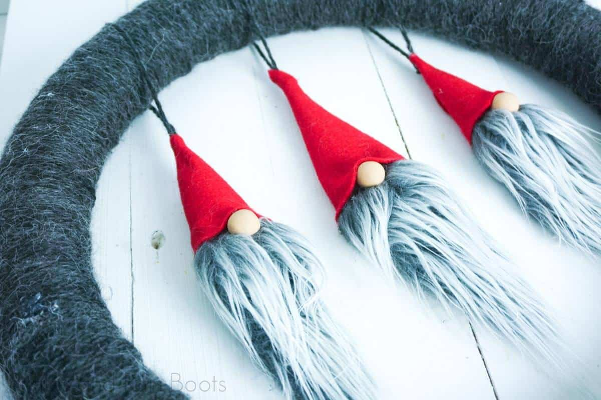 Yarn Wrapped Gnome Wreath for Christmas on a white background