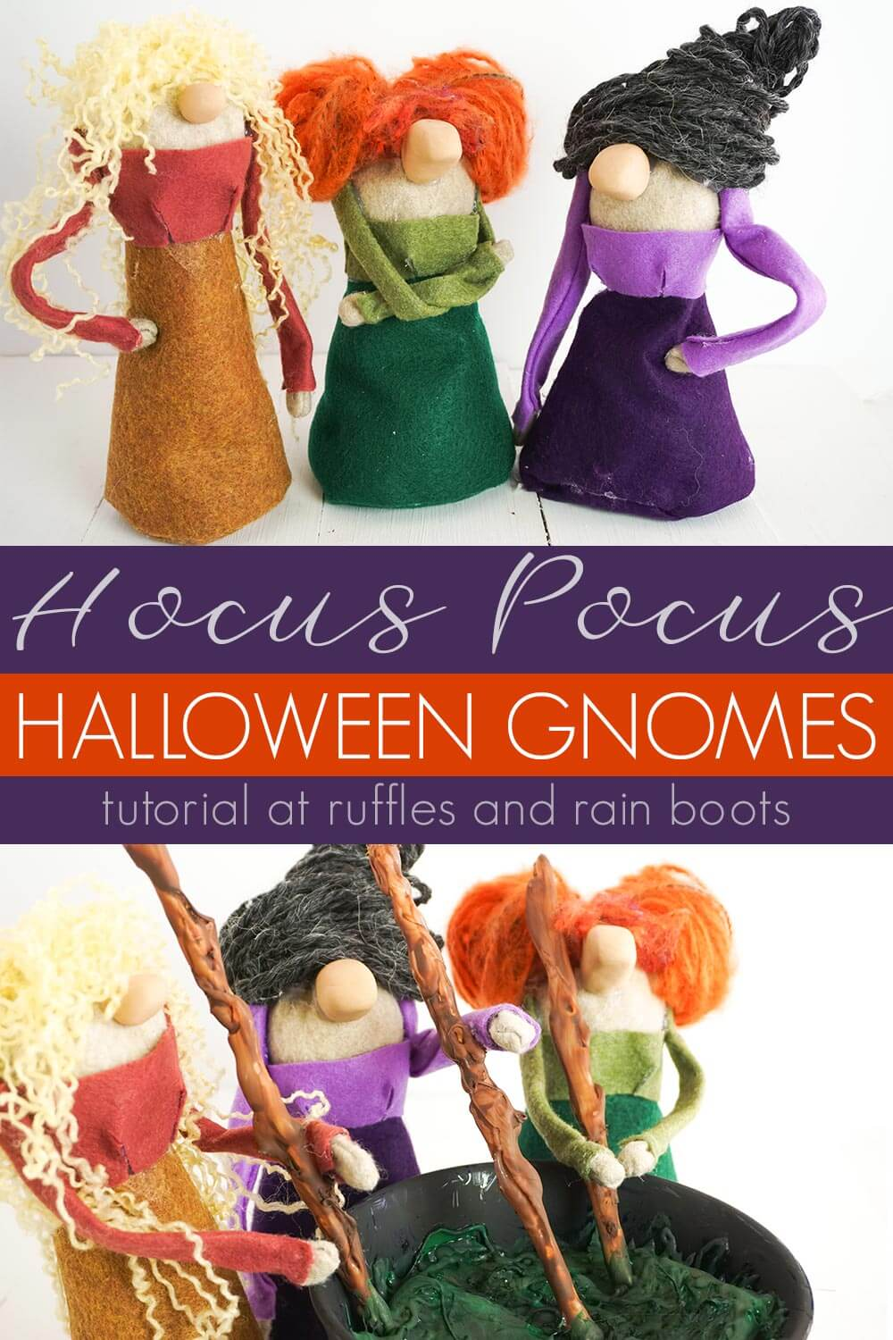 photo collage of Halloween Gnomes Sanderson Sisters Hocus Pocus with text which reads hocus pocus halloween gnomes