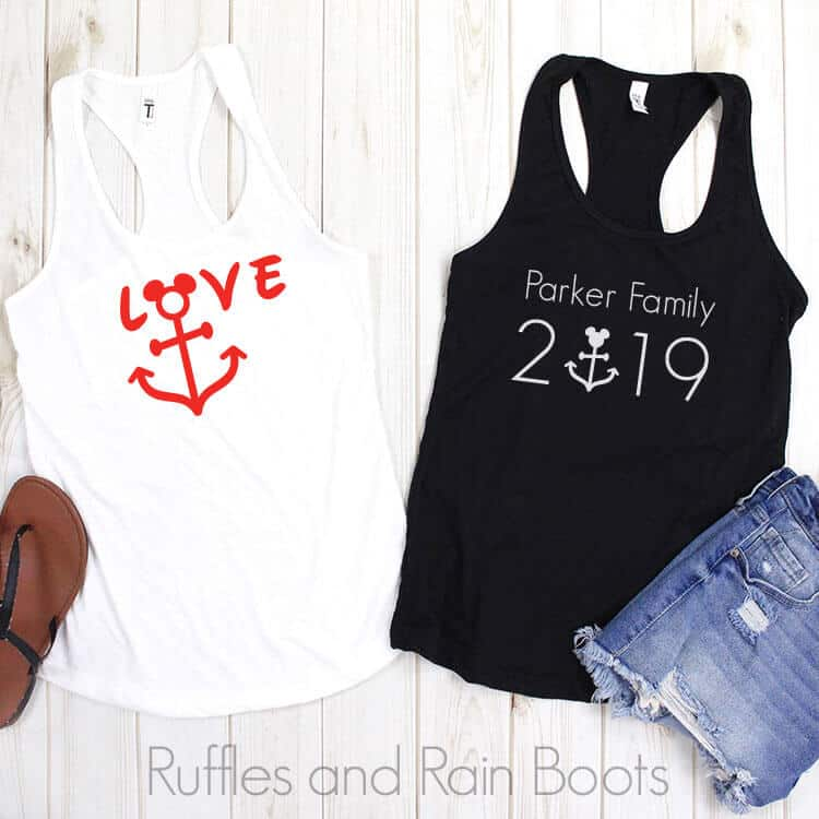Disney Cruise SVG for Free on a black and white tank top on a white background