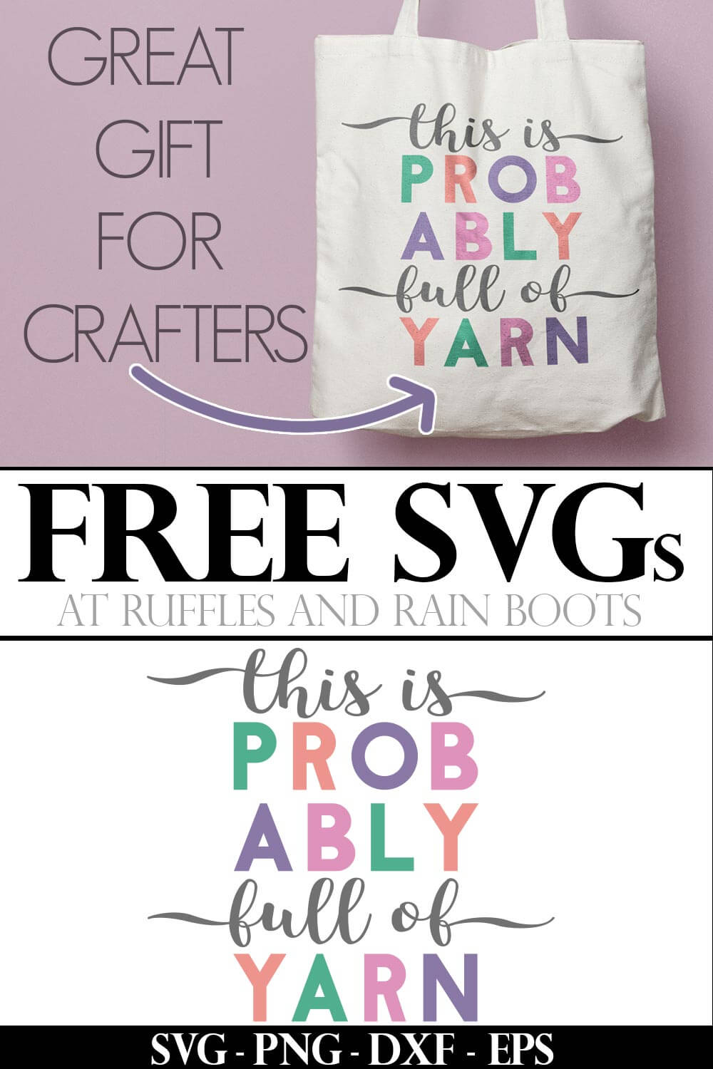 Free Knitting SVG photo collage with text which reads great gift for crafters free svgs