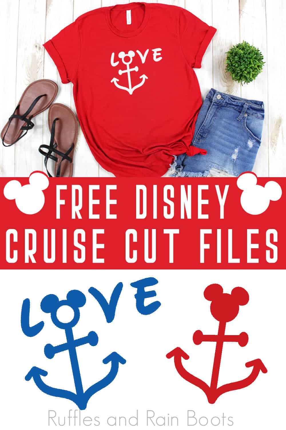 photo collage of Disney Cut Files Free Disney Cruise SVG with text which reads free disney cruise cut files