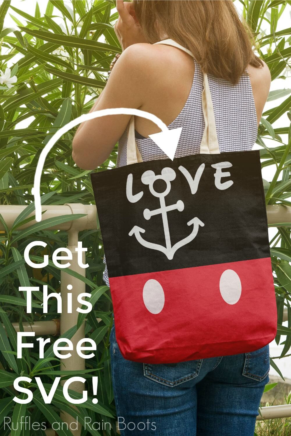 Free Disney Cruise SVG for Cricut Tote Bag being held by a lady with text which reads get this free svg