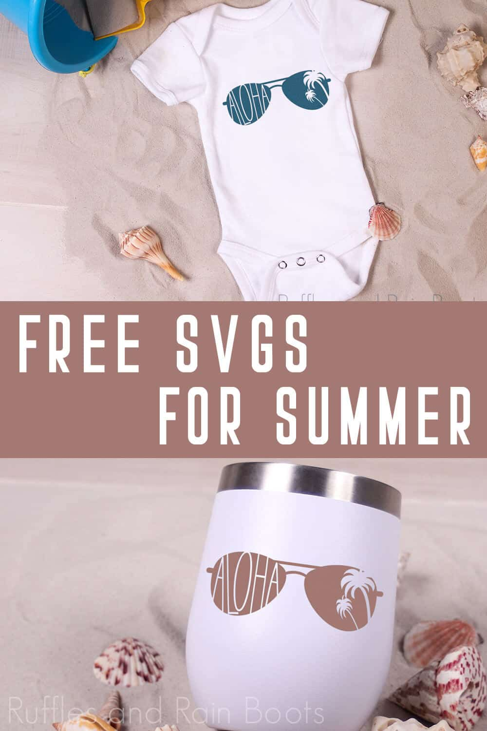 photo collage of Free Aloha SVG for Summer Cricut Crafts with text which reads free svgs for summer