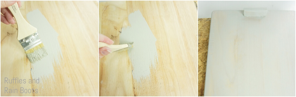 photo tutorial of how to paint a cutting board to make a christmas serving tray