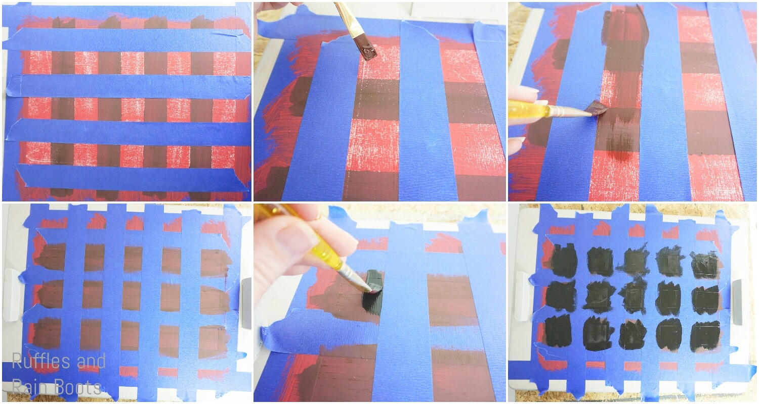 photo tutorial of how to paint buffalo check pattern on an upcycled cutting board for a christmas tray