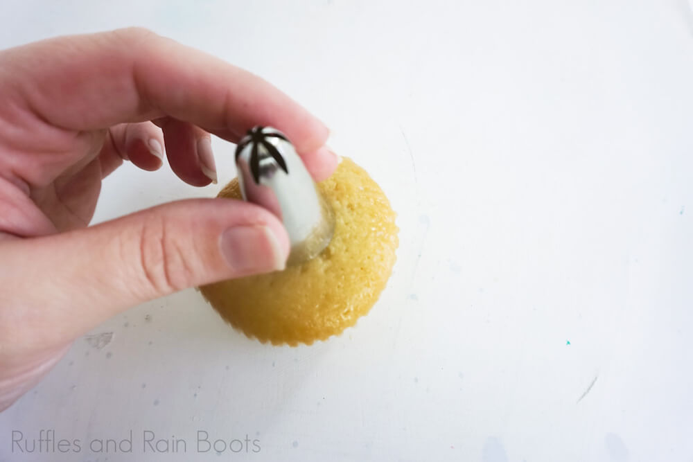 step 4 how to make grinch cupcakes make a well in the cupcake tops