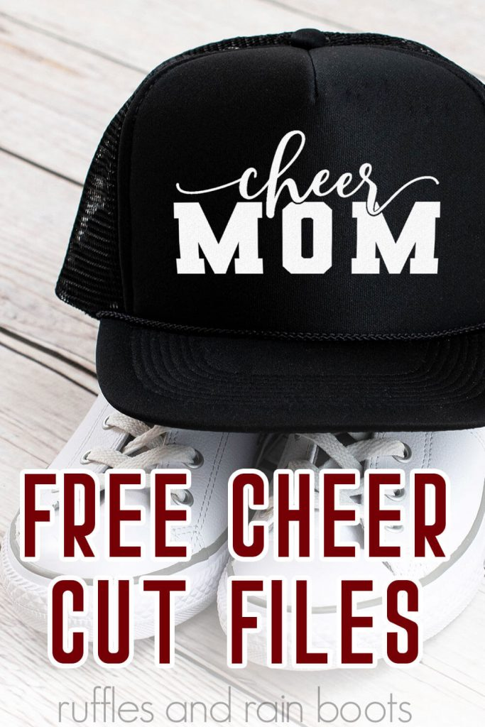 Cheerleading Cut Files Cheer mom SVG on a hat with text which reads free cheer cut files