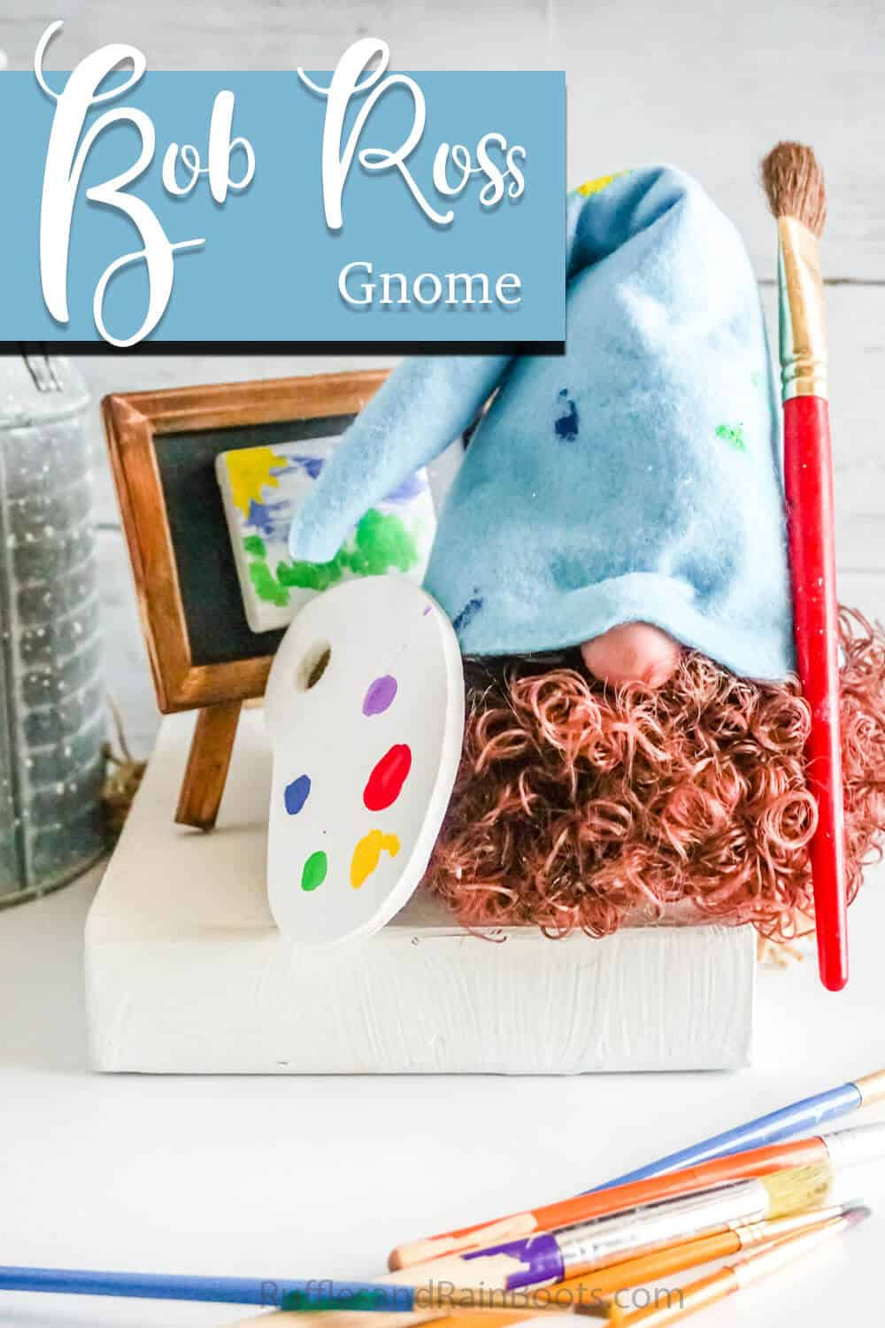 easy gnome pattern for a sock gnome with curly hair with text which reads bob ross gnome