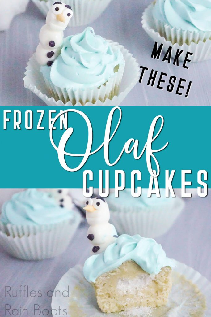 photo collage of frozen party cupcakes with text which reads make these frozen olaf cupcakes